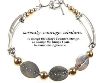 Serenity Prayer Bracelet, Serenity Courage Wisdom, Serenity Prayer Jewelry, Prayer Bracelet, Prayer Jewelry, Wish Bracelet, Courage Jewelry