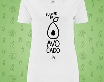 Fuelled by AVOCADO - Vegan branded T-SHIRT ladies Organic top