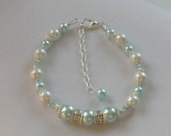 Light Aqua and White Pearl Bridal  Bridesmaid Bracelet