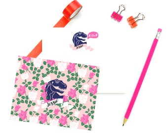 Dinosaur Stationary for Girls, Personalized FLAT Note Cards, Girls Note Cards Dinosaur, Pink Stationery Girls, SET of 10 Cards and Envelopes