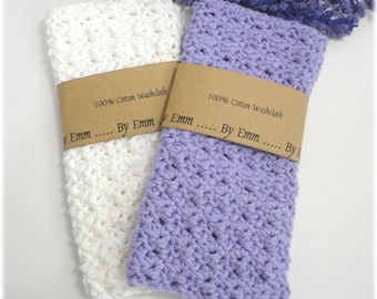 Set of 2, Cotton Face Cloth, Cotton Washcloth, Crochet Wash Cloth, Crochet Face Cloth, Cotton Wash Cloth, White wash cloth, Purple Washcloth