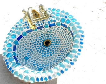 Caribbean Blue Glass Mosaic Sink, Drop-in Ready for Your Vanity, Fully Functional 18 Inch Drop in Sink