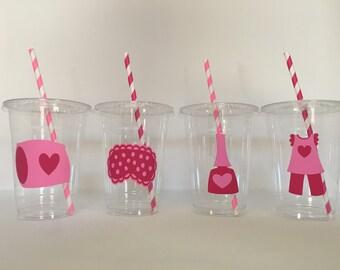 Pajama party cups, Pajama Birthday Party Cups, Sleepover Party Cups, Sleepover Birthday Party Cups, Pancakes and Pajama Party Cups