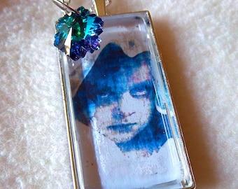 Healing Ragamuffin pendant necklace, Vintage Blue Girl, No.57