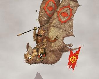 Goblin & Bat A3 Art Print