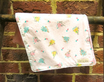 Set of 2 Handmade Burp Cloths with Pastel Bunny Rabbit Fabric/ Pink Terrycloth- Easter gift