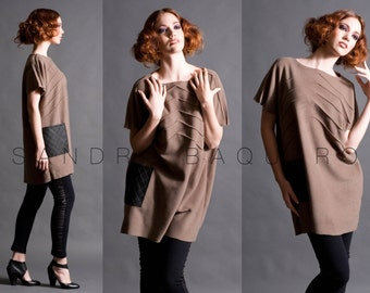 Boatneck Tunic with Pintucks and One Pocket