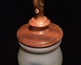 """Signed Handcrafted Art Pottery Blue Jar w/ Wooden Lid 9.25"""""""