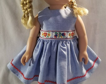 Blue chambray doll dress with flower and hearts trim made to fit American Girl or other similar 18 inch dolls