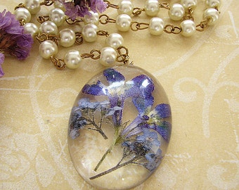 Resin Jewelry Real Forget Me Not Necklace Real Pressed Flower Necklace Flower Jewelry