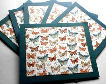 BUTTERFLIES in Slate Blue Note Card Set of Six
