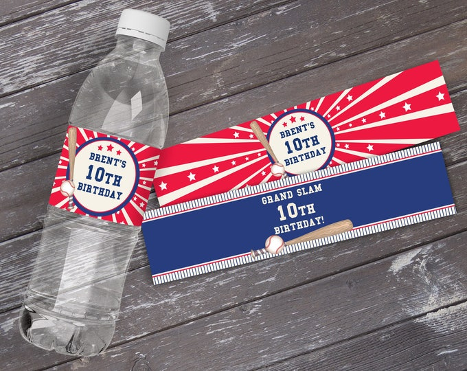 Baseball Party Water Bottle Wrap/Labels | Little Slugger Party, Birthday, Baby Shower | EDITABLE Text - INSTANT Download Printable PDF