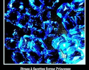50 rhinestone Princess-shaped decorative 10 mm X 14 mm sapphire wedding.