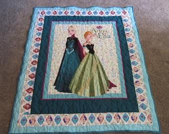 "Anna and Elsa Quilt -  Anna and Elsa Blanket -Coronation Day quilt - 45"" x 53"" - Disney's Frozen Quilt - Anna and Elsa - Frozen"