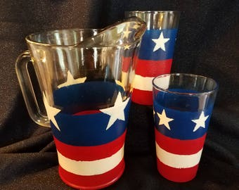 Red, White and Brew Beer Pitcher & Glasses