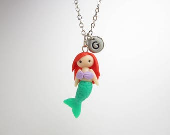 Mermaid necklace, mermaid jewelry, Initial necklace, personalized necklace, under the sea creature, cute unique gift, best friend, magical