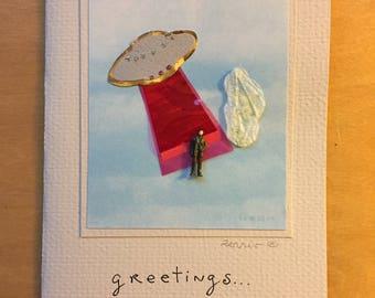 greetings!  UFO girl flying saucer woman spaceship greeting card