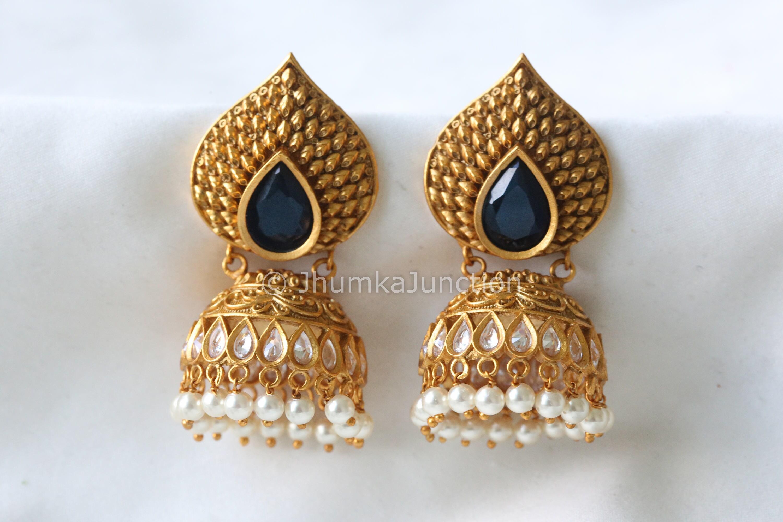 Antique Jhumka 1 gram gold Kemp Jhumka Temple gold earrings