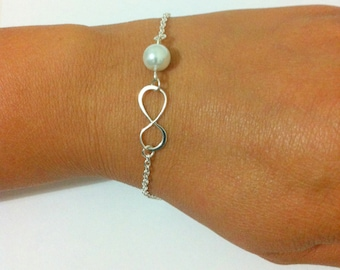 Infinity and Pearl Bracelet - Bridesmaid Gifts, Infinity Bracelet