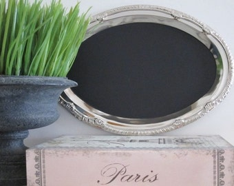 Seen in BRIDES  magazine The ORIGINAL Tres Chic Silver Tray Magnetic Chalkboard Oval Blackboard French Shabby Chic