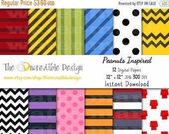 ON SALE Snoppy, Peanuts, Charlie Brown Inspired digital paper pack for scrapbooking, Making Cards, Tags and Invitations, Instant Download