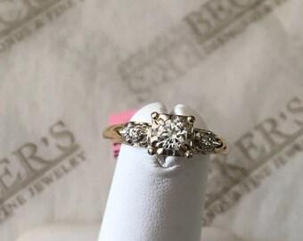 Antique Deco 14k yellow & white gold 3 Diamond Boxhead Engagement Ring, .20 tw J-VS2, size 6.25