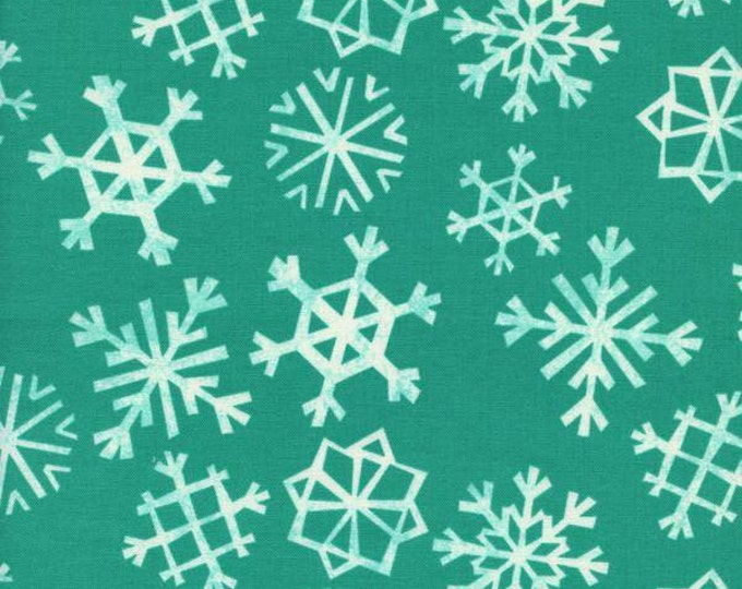Garland by Cotton + Steel - Snowflakes Teal - Cotton Woven Fabric
