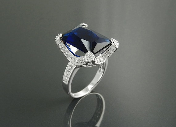 Rectangular ring,rectangle ring,prong ring,cocktail ring, large statement ring, blue sapphire ring,evening event ring,bling ring,silver Ring