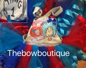 thing 1 overall ribbon trimmed tutu set