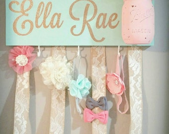 Headband Bow Holder, Custom Name Board Baby Girl, Mint Painted Board