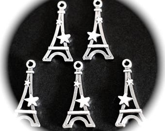 5 charms Paris EIFFEL towers with 3D silver metal stars