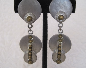 Unique Vintage Earrings Long Dangle Modern 80s Punk Steampunk Industrial Signed