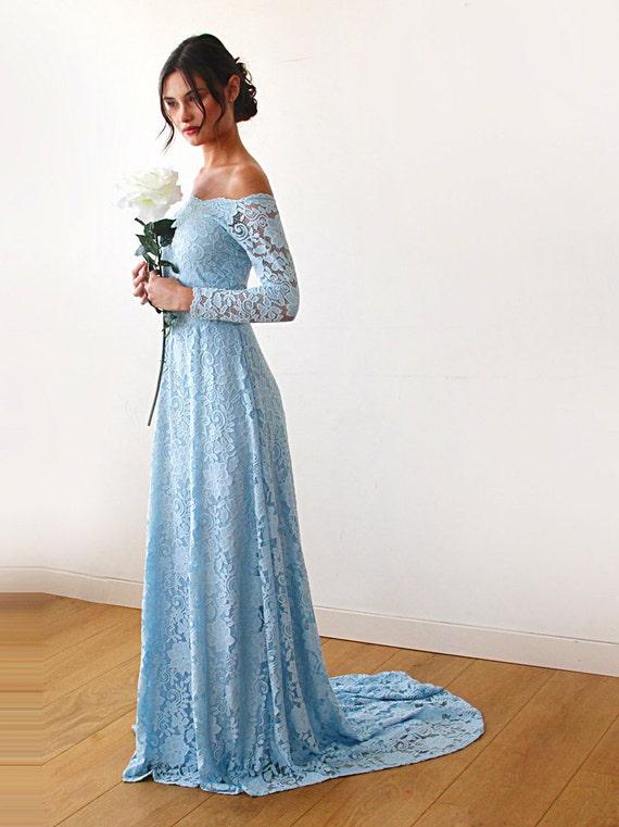 Light Blue Wedding Dress with a Train Off-The-Shoulder Light