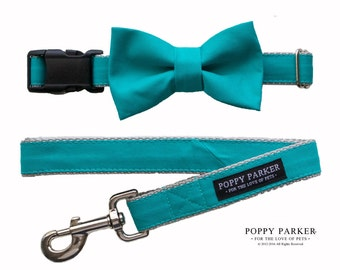 Teal Dog Bow Tie - Optional Matching Dog Collar Dog Leash