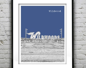 Wildwood New Jersey Shore Skyline Poster Print Art NJ Jersey Shore Version 2