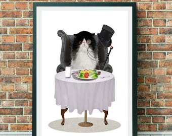 Ragdoll Cat Art print | Cat Art Print | Cat Lovers Art | Feline Art | A3 Art Print  | Cat Print | A Light Lunch