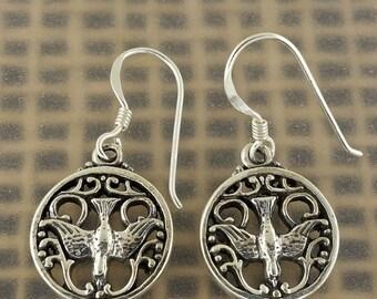 ON SALE Sterling Silver Celtic Raven Earrings Free Shipping Worldwide!