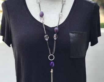 Quartz necklace, silver necklace, tassel necklace, chain necklace, long necklace, purple necklace, handmade necklace