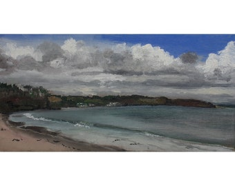 Saundersfoot, Wales, small original oil painting, canvas board, 12 x 24 cm
