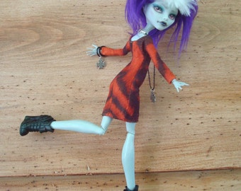 Monster High Classic Little Dress Tailored Tiger Stripes Knit Handstitched Detailing Walk On the Wild Side 1/6 Scale OOAK Orange and Black