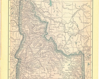 1914 Security Handy Atlas Vintage Map Pages (Idaho on one side and Utah on the other side)