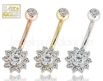 14Kt Gold Belly Ring, 14G Banana Barbell Belly Button Ring, Flower Belly Ring, 14Kt Rose Gold, 14kt Yellow Gold, 14kt White Gold Navel Ring