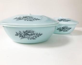 REDUCED Rare Vintage Pale Blue Phoenix Glass Rose Design Dish with Lid, Large