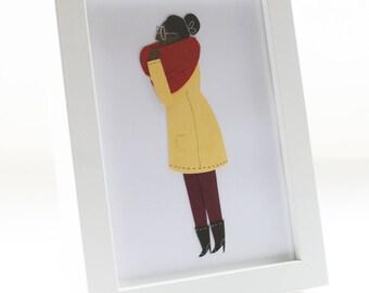 Cozy Lady - Original Cut Paper Illustration