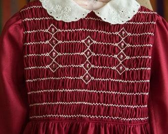 Vintage Girl's Dress  - Maroon Smocked Floral Polly Flinders