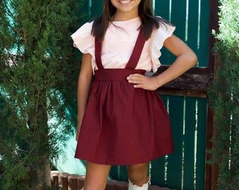 suspender skirt, skirt, dress, burgundy, suspenders, girls, toddler, bow, tie back, bow, high waisted, red, toddler dress, jumper