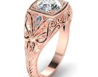 14K Rose Gold, Hand Engraved, Diamond Engagement Ring, Antique Style, 14K Rose Gold