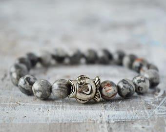 Jasper Stone Bracelet, Fish Bracelet, Grey Jasper Bracelet, Semi Precious Gemstone, Natural Stone Bracelet,  stretch elastic