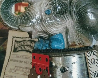 Elephant Junk Assemblage Sculpture,Found Objects,Pure Whimsey,Shelf Sitter