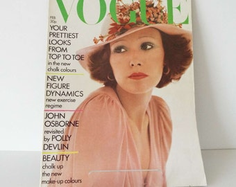 Vintage 1973 Vogue Magazine Fashion Beauty David Bailey Cover
